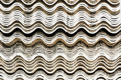 Old white concrete roof tile curve typ Royalty Free Stock Images