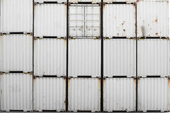 Old white container stacking Royalty Free Stock Image