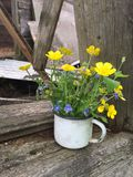 Vintage white enamel mug with small bouquet of buttercups flowers Royalty Free Stock Photo