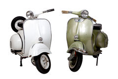 Old white and green motorcycle Stock Image