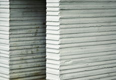 Old White grooved concrete blocks Royalty Free Stock Image
