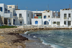 Old white house and Bay in Naoussa town, Paros island, Greece Royalty Free Stock Photos