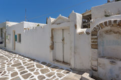 Old white house in Naoussa town, Paros island,  Greece. Old white house in Naoussa town, Paros island, Cyclades, Greece Royalty Free Stock Image
