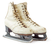 Old white ice skating shoes Stock Photography