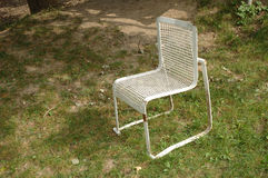 Old white iron chair Royalty Free Stock Image