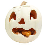 Old white jack o'lantern with lit candles square Royalty Free Stock Photography