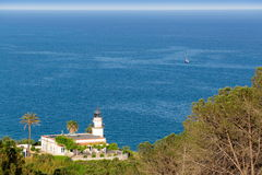 Old white lighthouse on the green hill with palms above the sea. And the white boat far away Stock Photo