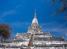 Old white off-center pagoda Royalty Free Stock Photos