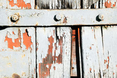 Old white painted rust and wood background Royalty Free Stock Photo