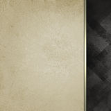Old white paper with gold ribbon trim and black patterned black sidebar. Old white vintage paper background with abstract black faded sidebar pattern with Stock Images