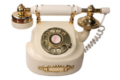 Old white phone Stock Images