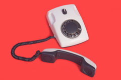 Old white phone Stock Image