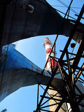 Old white and red industrial chimney Royalty Free Stock Photo