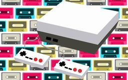 Old white retro vintage antique hipster game console for video games and two joysticks from the 80`s, 90`s on a background of mu. Lti-colored audio cassettes Stock Photography