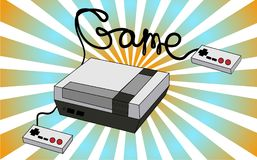 An old white retro vintage antique hipster game console for video games and two joysticks from the 80`s, 90`s on a background of. Shining rays. Vector Royalty Free Stock Photography