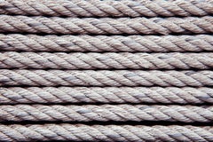Old white rope arrangement as pattern use as texture ,background Royalty Free Stock Image