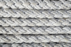 Old white ropes closeup Royalty Free Stock Images