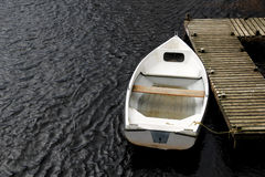 Old White Rowing Boat Stock Photo