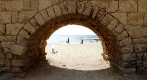 Arch of the old roman aqueduct in Israel. Arch of the old roman aqueduct in Caesarea Stock Photos