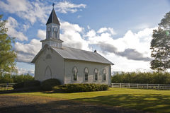 Old white rural church Stock Image