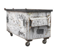 Free Old White Rusty Garbage Dumpster Isolated. Stock Photography - 27767152