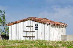 Old white shed Royalty Free Stock Images