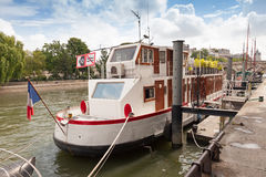 Old white ship, Seine river, Paris, France Royalty Free Stock Photos