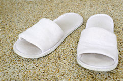 Old white Shoes. On sand floor Royalty Free Stock Photo