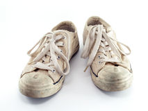 Old white sneakers Royalty Free Stock Images