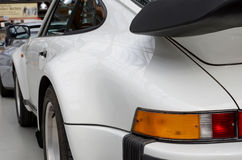 Old white sports car. Rear view. Royalty Free Stock Photo