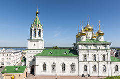 The old white-stone Russian Orthodox church Stock Images