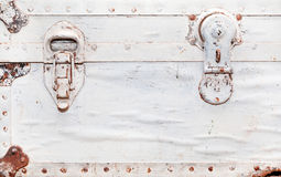 Old white suitcase, fragment Stock Photo