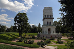 The old white tower in the park. The old white tower in the park Royalty Free Stock Image