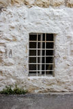 Old white Trellis peaks window and openwork a beautiful vintage background Royalty Free Stock Photos