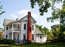 Old White Two Story Farmhouse Stock Photo
