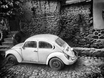 Old White VW Bug Royalty Free Stock Photography