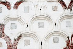 Old white wall of a historical building. Photo is taken in Trinity Sergius Lavra, Russia. UNESCO World Heritage Site Stock Photography