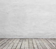 Old white wall and wood floor. Royalty Free Stock Image