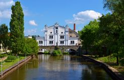 Old white water mill. And river Royalty Free Stock Photography