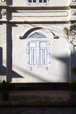 Old white window and old wall Royalty Free Stock Image