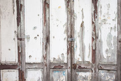 Old white wood door weathered Stock Photo