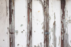 Old white wood door weathered Royalty Free Stock Image