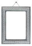 Old white wood frame with a simple ornament. Royalty Free Stock Images