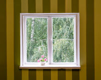 Old white wood window in striped wall Royalty Free Stock Photo