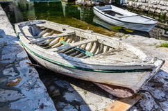 Old white wooden boat Stock Photo