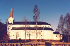 Old white wooden church Royalty Free Stock Image