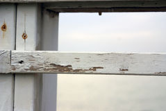 Old white wooden fence stock image