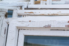Old White Wooden Window Frames Royalty Free Stock Image