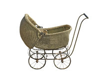Old wicker baby carriage Royalty Free Stock Image