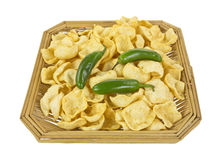 Basket of jalapeno peppers and potato chips Royalty Free Stock Photos